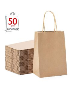 "GSSUSA Halulu 100pcs 5.25"" x 3.75"" x 8"" White Kraft Paper Bags,Handled, Shopping, Gift, Merchandise, Carry, Retail,Party Bags"